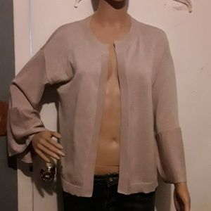 Loft tan open front cardigan with bat wing sleeves